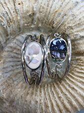 """Abalone Mop Sodalite Enamel Fits 6""""in 2 Alpaca Mexico Cuff Bracelets Sterling"""