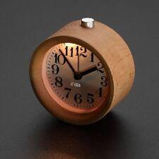 Handmade Classic Small Round table Snooze beech Wood Alarm Clock with nightlight