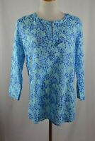 Vineyard Vines Blue Coral Print 3/4 Length Sleeve Swimsuit Cover Up Small