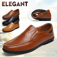 Mens Leather Casual Shoes Antiskid Lightweight Slip on Driving Loafers Moccasins