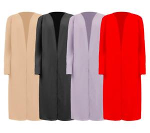 New UK Womens Ladies Open Wide Sleeve Casual Lounge Duster Jacket Coat