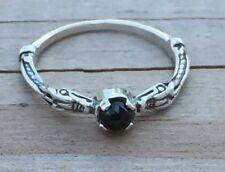 Celtic Dragon Ring .925 Sterling Silver sz 7 w/ Genuine Black Star Diopside