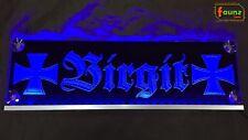 """LED LKW Truckerschild Leuchtschild """"Birgit"""" + Kreuz o. Ihr Name Altdeutsch blau"""