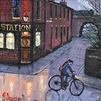 James Downie Original Oil Painting - The Station Inn Pub (Northern Art)