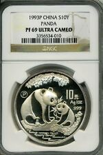 1993 P 1 oz  SILVER CHINA PANDA NGC PF 69 UCAM