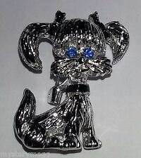 Vintage Signed Gerry's Silver Tone Puppy Dog blue rhinestone eyes