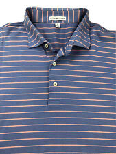 Peter Millar Purple & Pink Striped Short Sleeve Polo Shirt Size Large