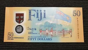 FIJI $50 Dollars 2020 50 Years of Independence Comm UNC Polymer Banknote