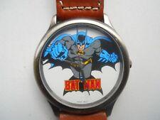 Fossil BATMAN Men's Brown Leather band,Quartz,Battery & Analog Dress Used Watch.