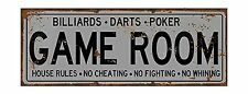Game Room House Rules Metal Street Sign, Billiards, Poker, Darts, Gaming, New