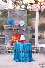 Lake Blue 48'' Round Sequin Table cloth Cover For Wedding/Event/Party/Banquet