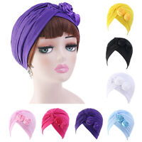 Women Stretchy Indian Turban Hat Head Wrap Chemo Caps Bandana Hijab Pleated Hat