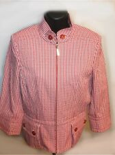 NWOT St. John Yellow Label Red Gingham Cotton Blend Zip Blazer Sz 4