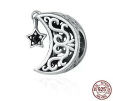 925 Sterling Silver Moon and Star open work Charm for a Charm Bracelet