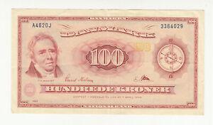 Denmark 100 kroner 1962 replacement circ. @ low start