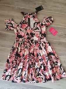 Girls On Film Ladies Floral Dress Size UK12 BNWT pink/black