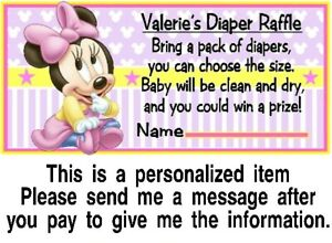 20 Baby Minnie Mouse Baby Shower Diaper Raffle Tickets Game Cards Pink Yellow