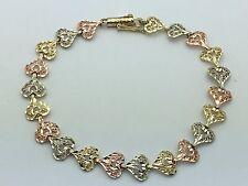 "14K Tri Color Gold 7"" Filigree Heart Bracelet 7.5 mm 5.6 grams (Swirl Tube Lock)"