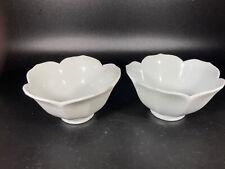 Set Of 2 Lotus Flower Bowl White Porcelain Rice Bowl HOMCO Made in Japan