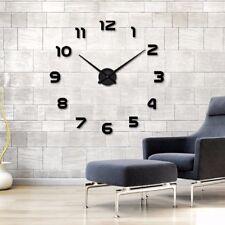 Wanduhr XL Deko Spiegel Edelstahl Uhr Wandtattoo Wand Uhr Groß XXL Clock schwarz