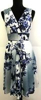 Orientique Women's size 12 Dress Retro Blue Floral Sleeveless Cotton Piping