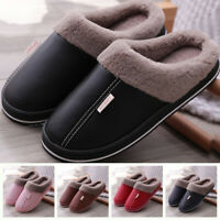 Women&Men Home PU Shoes Warm Soft Plush Lined Indoor Anti-Skid Safe Couple Shoes