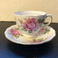 Royal Vale Pretty Pink Roses Bone China Tea Cup and Saucer Set Made in England