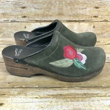Dansko Womens Size 38 Clog Mules Sophia Embroidered Boho Green Suede Leather