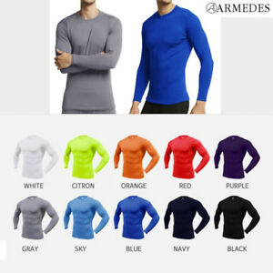 ARMEDES Mens Skin Tight Compression Baselayer Activewear Long Sleeve Shirt AR52