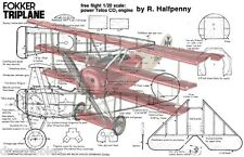 """Model Airplane Full Size Printed Plans Scale 1/20 Co2 13"""" W/S Fokker Triplane"""