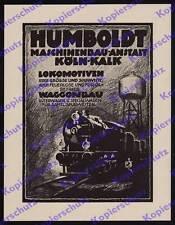 ORIG. publicitarias Humboldt ingeniería mecánica-manicomio locomotora tren rico colonia-cal 1925