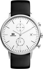 NEW DANISH DESIGN MENS CHRONOGRAPH WATCH SILVER FACE 42MM IQ12Q975