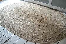 Large 100% Jute Oval reversible natural 120x180cm Braided, American style rug.