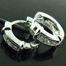 HOOP HUGGIE EARRINGS DIAMOND SIMULATED GENUINE REAL 18K WHITE GOLD G/F LADIES