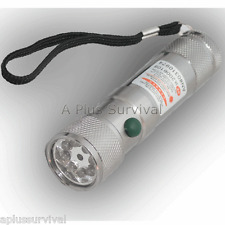 8 LED Flashlight Green White & Laser Camping Survival Emergency Disaster Kits
