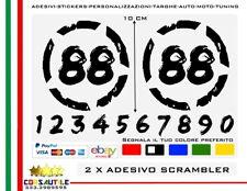2X Numero adesivo personalizzato vintage Cafe Racer Scrambler moto stickers 10CM
