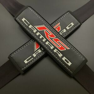 Black seat belt covers pads Red and grey embroidery Fits Camaro RS 2PCS