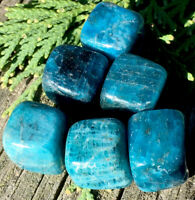 94.5g  (6) VIVID BLUE/GREEN APATITE CRYSTAL TUMBLED HEALING CUBES Reiki  NORWAY