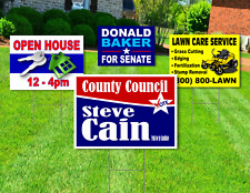25 18x24 Yard Signs Custom Design Full Color 2 Sided Stakes Included