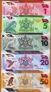 SET Trinidad and Tobago, $1-5-10-20-50 2020 (2021) Polymer UNC > Redesigned