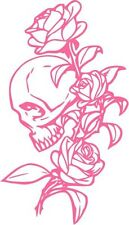 "Rose Flower Skull Decal Sticker Car Truck Window- 6"" Tall White Color"