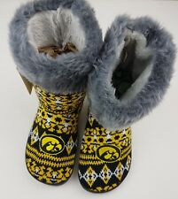 Iowa Hawkeyes Women's Size XLG Aztec Slipper Boots Faux Fur Forever Collectible