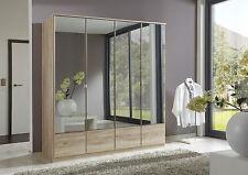 SlumberHaus German 'Imago' 4 Door Light Oak and Mirror Door Wardrobe