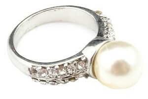 Zest Silver Coloured Diamante Band Ring with Pearl Effect Bead