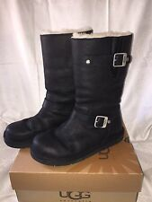 UGG 5678 KENSINGTON MOTO BOOTS BLACK LEATHER BUCKLED WOMEN'S SIZE 7 -NEW