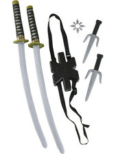Japanese Samurai Black Ninja Double Toy Sword Anti-Hero Costume Accessory Kit