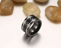 12mm big titanium black silver  spinner ring engagement band size S    ab3132