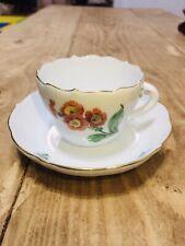 ANTIQUE 19th C Meissen Porcelain Hand Painted Floral Cup & Saucer Bowl No Damage