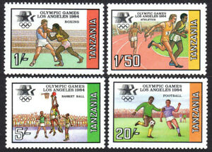 Tanzanie 242-245, Mnh.olympics, Los Angeles.boxing, Course, Basket, Soccer, 1984
