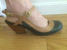 Miz Mooz EVA Leather Teal/Brown Ankle Strap Mary Janes Block Heel Shoes Sz 8